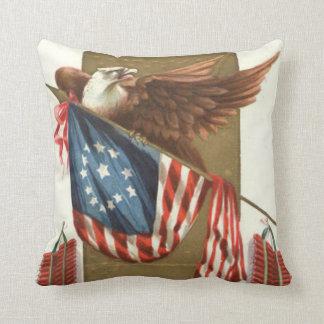 Fireworks Firecracker US Flag Bald Eagle Throw Pillow