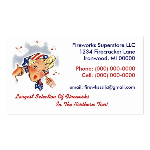 Fireworks Firecrackers Retro Style Business Card