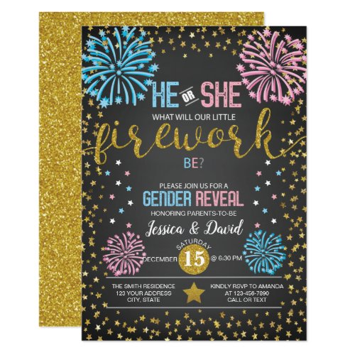 Fireworks Gender Reveal Invitation
