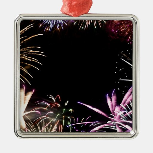 Fireworks Grand Finale Square Metal Christmas Ornament