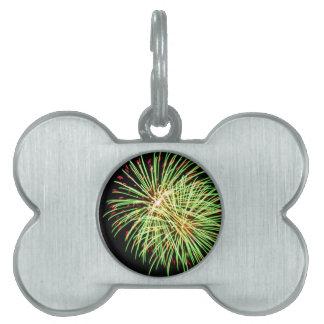Fireworks - Green on Black Pet Tag