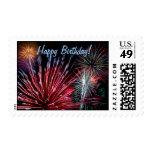 Fireworks, Happy Birthday! Postage Stamp