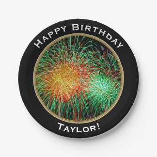 Fireworks Happy Birthday with Name Paper Plate