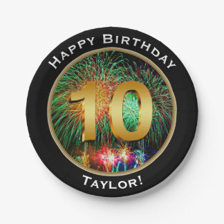 Fireworks Happy Tenth 10th Birthday with Name Paper Plate