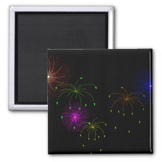 Fireworks Hapy New Year 2 Inch Square Magnet