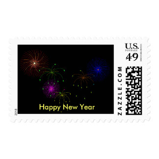 Fireworks Hapy New Year Stamp