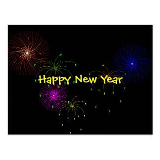 Fireworks Hapy New Year Postcard