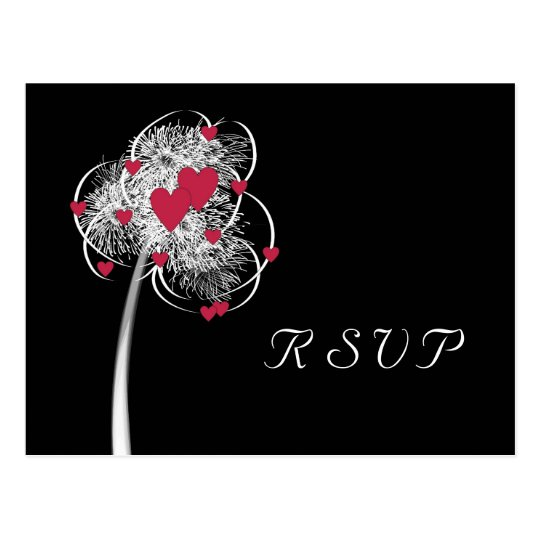 Fireworks & Hearts Tree RSVP Postcard