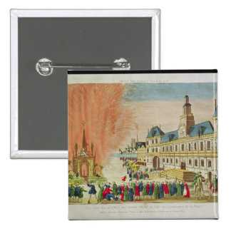 Fireworks in front of the Hotel de Ville in Paris Pinback Button