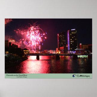 Fireworks in Grand Rapids, Michigan Poster
