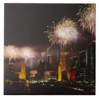Fireworks in Houston Texas Ceramic Tiles