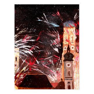 Fireworks In Munich Postcard
