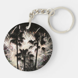 fireworks in palm trees.jpg Double-Sided round acrylic keychain