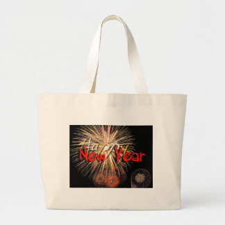 Fireworks in Red - Happy New Year 2015 Canvas Bags