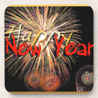 Fireworks in Red - Happy New Year 2015 Drink Coasters