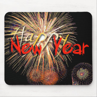 Fireworks in Red - Happy New Year 2015 Mouse Pad