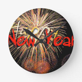 Fireworks in Red - Happy New Year 2015 Wall Clocks