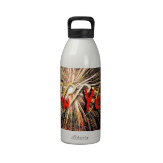 Fireworks in Red - Happy New Year 2015 Water Bottle