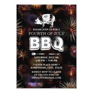 fireworks july 4th pig roast bbq party invitation
