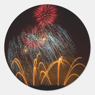 Fireworks Lighting up the Sky Round Sticker