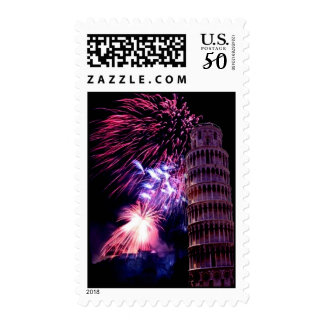 Fireworks LightingTower of Pisa Stamp