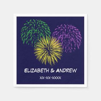 Fireworks, Navy Blue Background, Name Monogram Paper Napkins