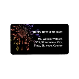 Fireworks New Year Address Label