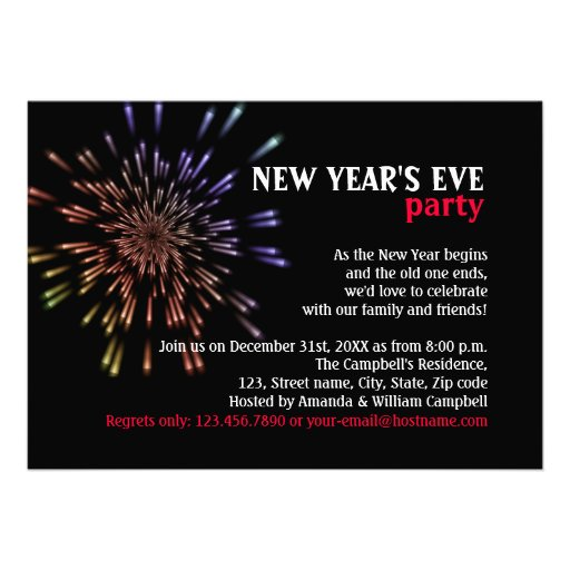 Fireworks new year 39 s eve party invitations zazzle for Terrace new year party