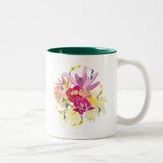 Fireworks of tropical flowers Two-Tone coffee mug