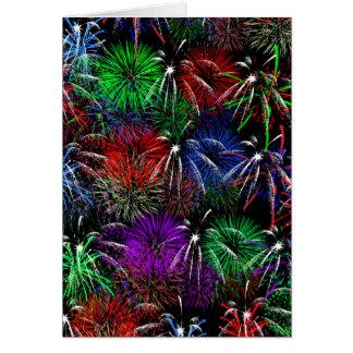 Fireworks on Black  Background Card