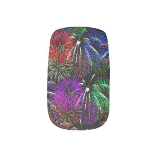 Fireworks on Black  Background Minx Nail Wraps