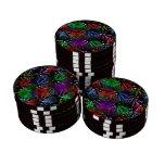 Fireworks on Black  Background Set Of Poker Chips