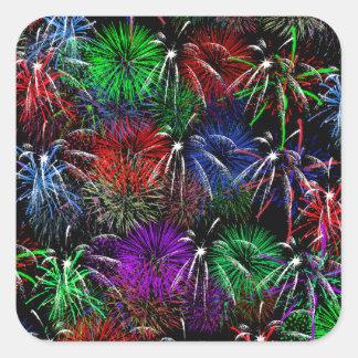 Fireworks on Black  Background Square Sticker