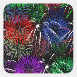Fireworks on Black Background Stickers