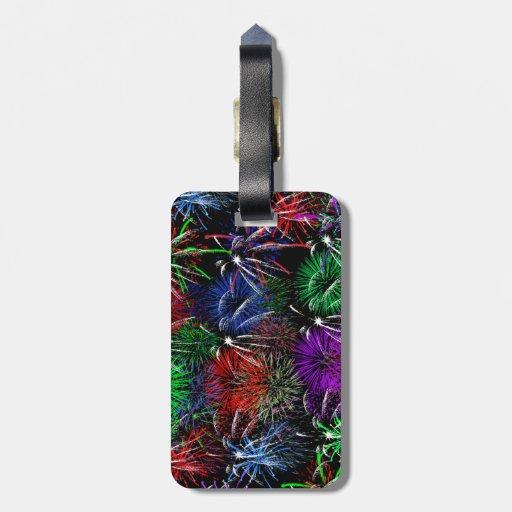 Fireworks on Black Background Travel Bag Tags