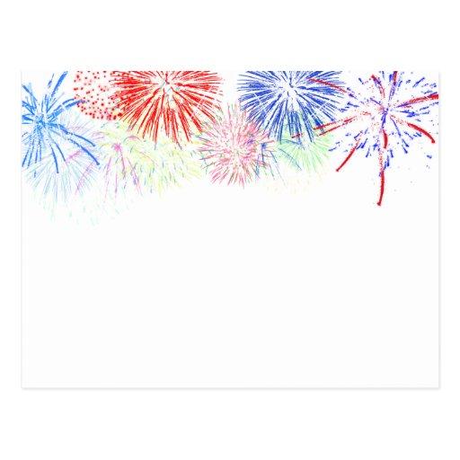 Fireworks on Blank (Add background color) Postcards