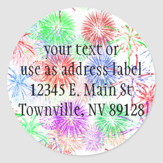 Fireworks on Blank (Add background color) Round Stickers