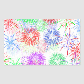 Fireworks on Blank (Add background color) Rectangular Stickers