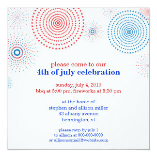 Fireworks on the Fourth Party Card