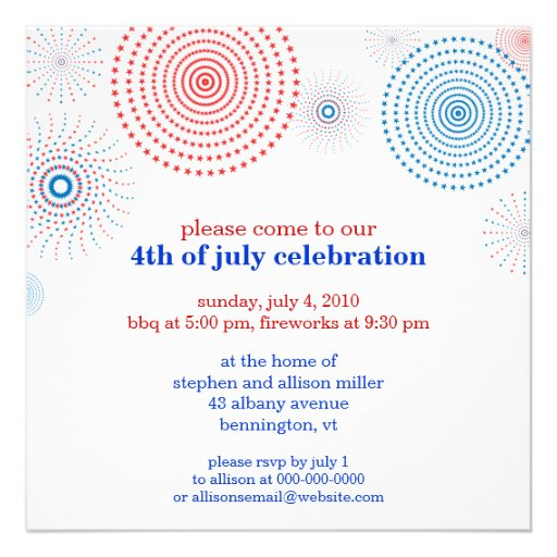 Fireworks on the Fourth Party Custom Invitations