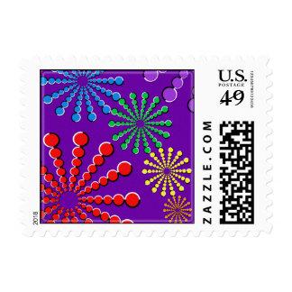 Fireworks Optical Illusion Rainbow Design Stamps