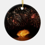 fireworks Double-Sided ceramic round christmas ornament