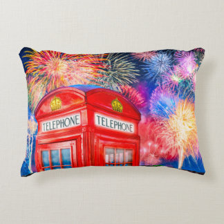 Fireworks Over A British Phone Booth Decorative Pillow
