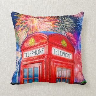 Fireworks Over A British Phone Booth Pillow