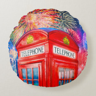 Fireworks Over A British Phone Booth Round Pillow