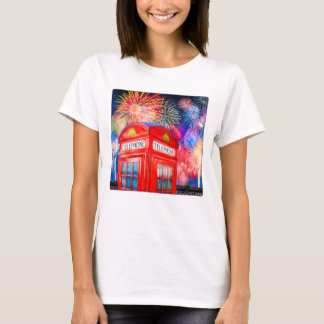 Fireworks Over A British Phone Booth T-Shirt