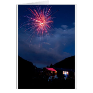 Fireworks over a Mountain Cabin Card