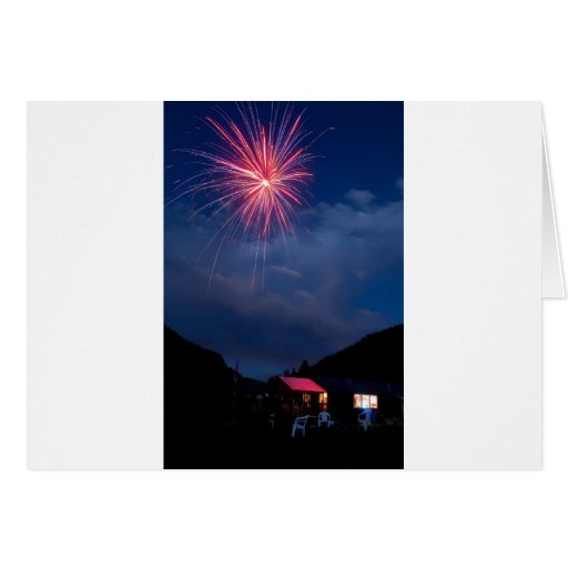 Fireworks over a Mountain Cabin Cards