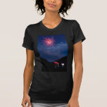 Fireworks over a Mountain Cabin T Shirt