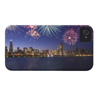 Fireworks over Chicago skyline 2 iPhone 4 Covers